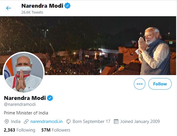 Narendra Modi on twitter